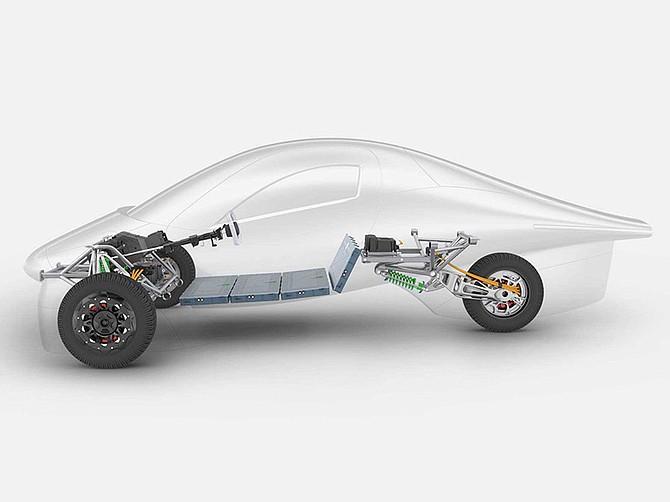 Photo courtesy of Aptera Motors Corp. Sorrento Valley-based Aptera Motors is maker of this three-wheeled vehicle.