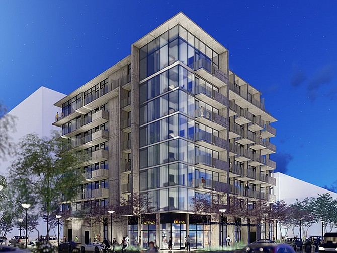 Rendering courtesy of Stephen Dalton Architects. An eight-story apartment building under construction in Bankers Hill is meant to be affordable to low income and middle income tenants.