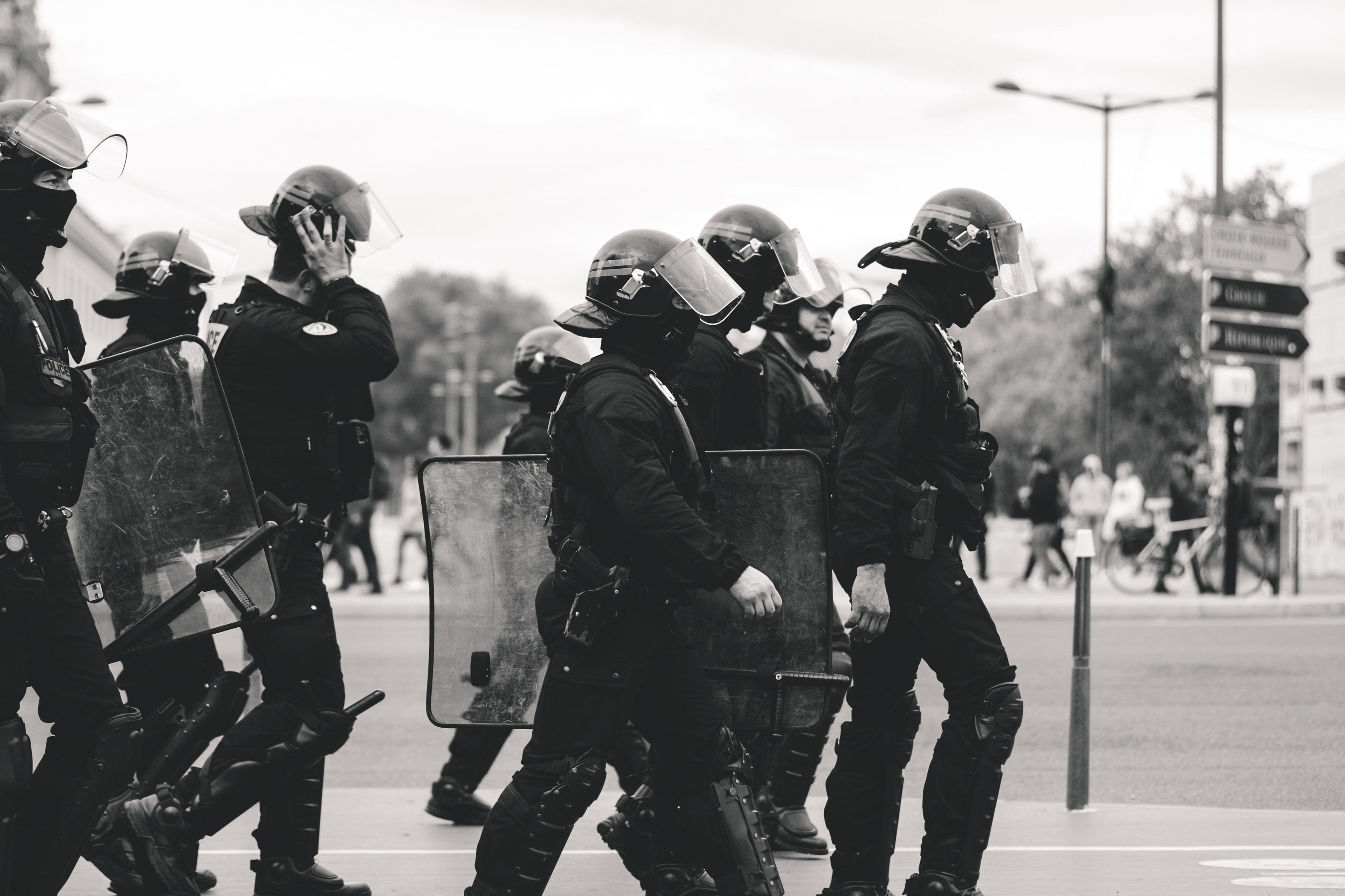 Police with riot gear on