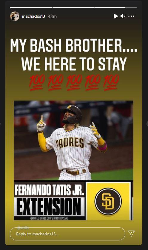Manny Machado's post on Instagram following the news of Tatis Jr.'s deal.