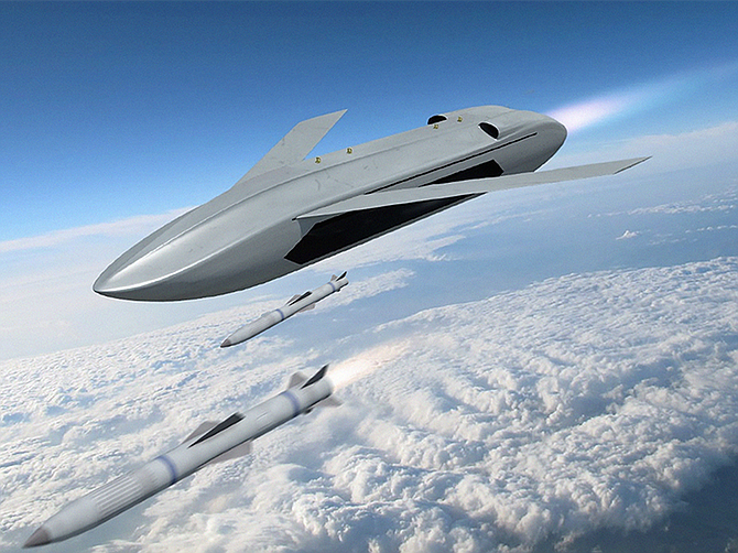 Rendering courtesy of DARPA. An artist's rendering from the Department of Defense shows an unmanned LongShot aircraft firing missiles. General Atomics Aeronautical Systems Inc. is among three contractors that will work to make the concept a reality.