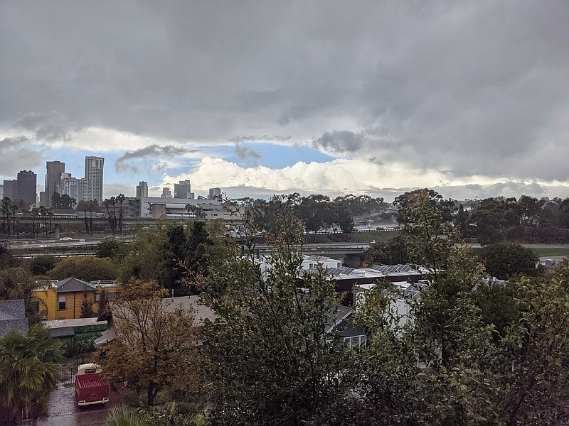 A winter storm is pictured over downtown San Diego, March 2021 .