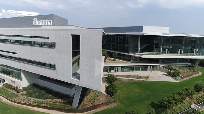 Illumina Inc. has a big presence in the University Towne Center neighborhood. San Diego is the center of the company's global business. Illumina said the pace of its business is picking up after a year affected by COVID-19. Photo courtesy of Illumina.