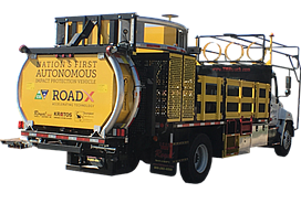 The Autonomous Truck-Mounted Attenuator, or ATMA, is a highway maintenance truck with no driver. It is controlled wirelessly by the truck in front of it. Photo courtesy of Kratos Defense.