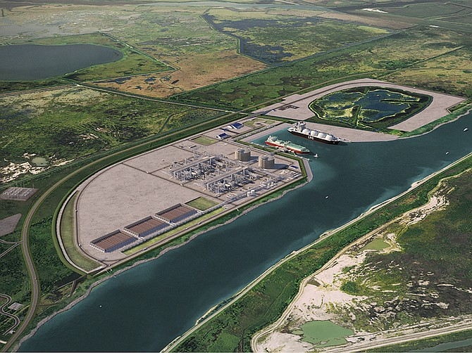 Sempra Energy has taken preliminary steps to build this liquefied natural gas (LNG) liquefaction and export terminal in Port Arthur, Texas, shown in an artist's rendering. Sempra is selling a portion of its LNG and Mexico infrastructure business. Rendering courtesy of Sempra Energy.